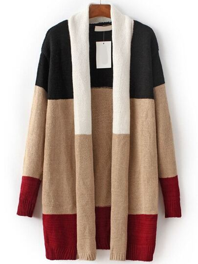 Multicolor Color Block Open Front Sweater Coat