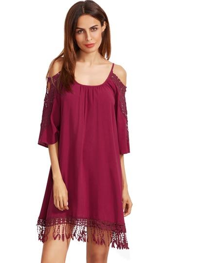 Burgundy Open Shoulder Crochet Lace Sleeve Tassel Dress