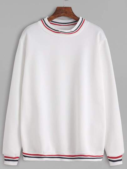 White Stripe Trim Sweatshirt