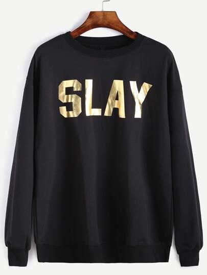 Black Letter Print Sweatshirt