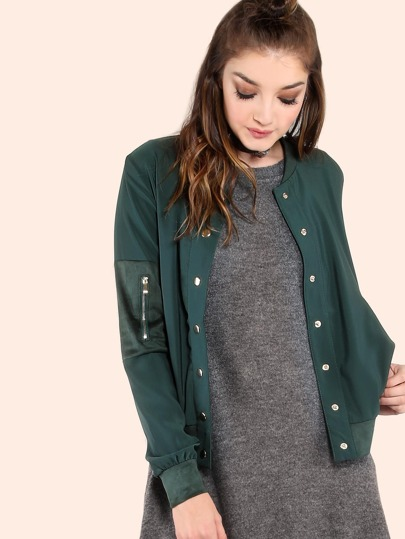 Button Up Suede Contrast Bomber Jacket HUNTER GREEN