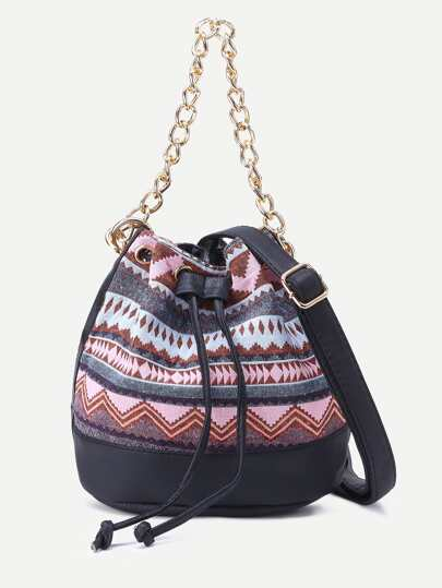 Pink Tribal Print Drawstring Bucket Bag