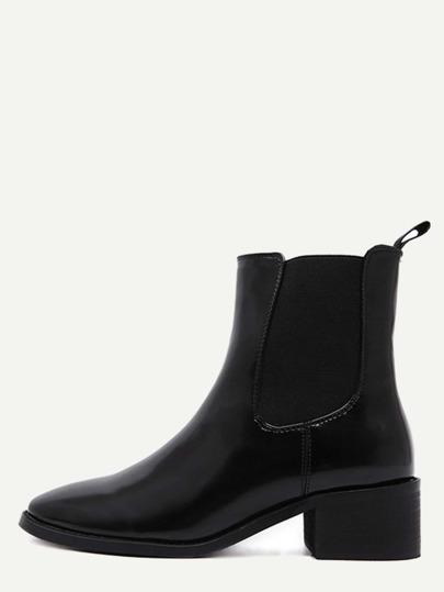 Black Faux Leather Elastic Short Boots