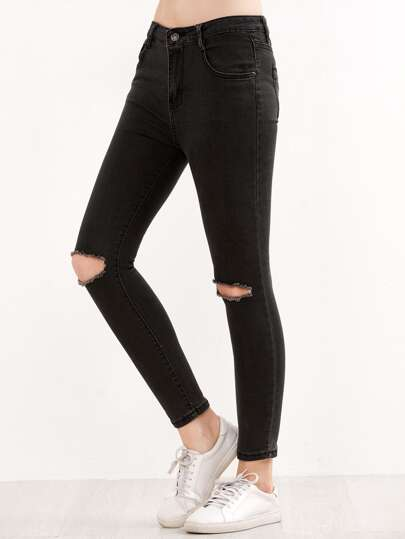Black Ripped Knees Jeans