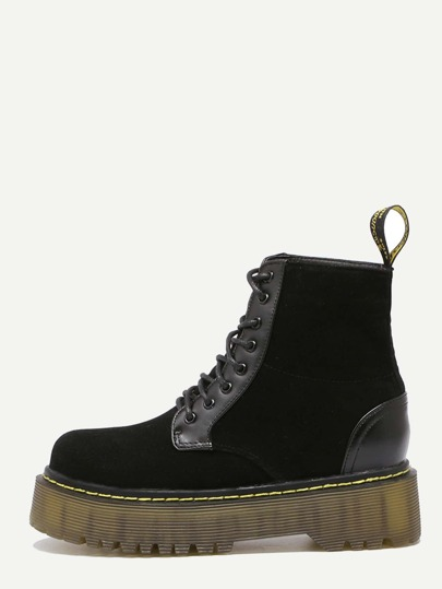 Black Lace Up Rubber Sole Martin Boots