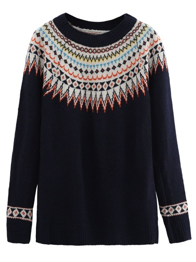 Navy Geometric Print Raglan Sleeve Sweater