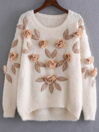 Apricot Flower Embellished Dip Hem Mohair Sweater