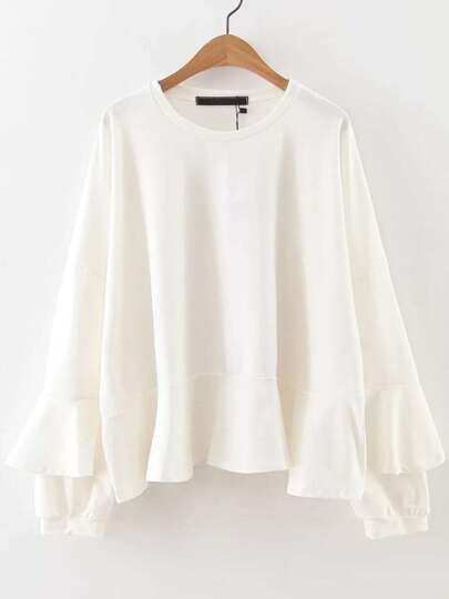 White Bell Sleeve Drop Shoulder Sweatshirt