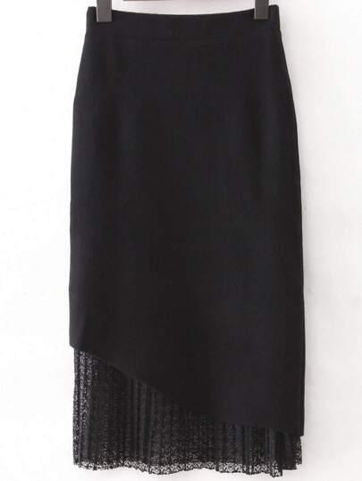 Black Knit Midi Skirt With Lace Hem