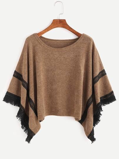 Pull poncho en crochet contrasté avec frange - kaki
