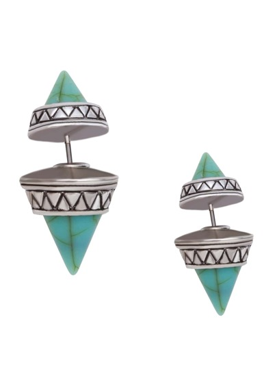 Antique Silver Geometric Turquoise Stud Earrings