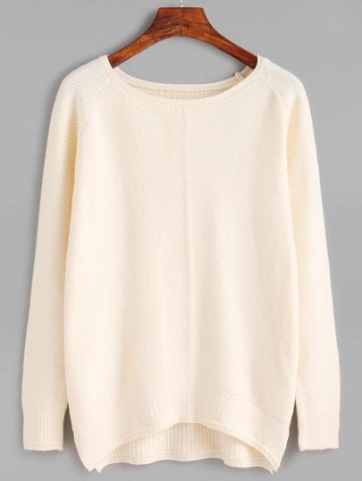 Apricot Raglan Sleeve Dip Hem Sweater
