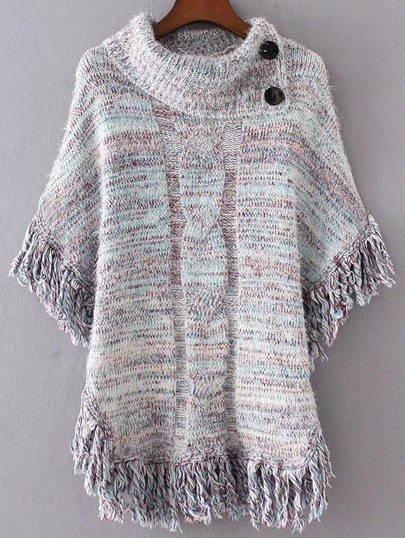 Light Blue Fringe Marled Knit Poncho Sweater