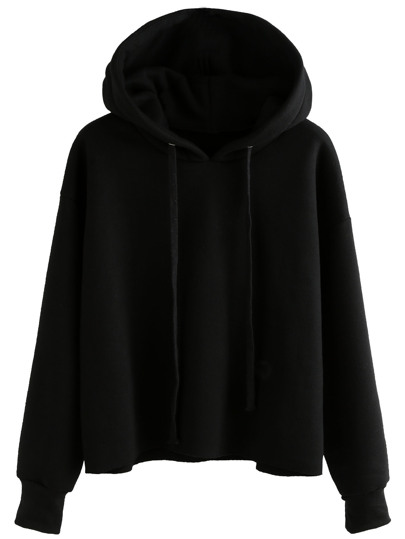 Black Drawstring Hooded Sweatshirt