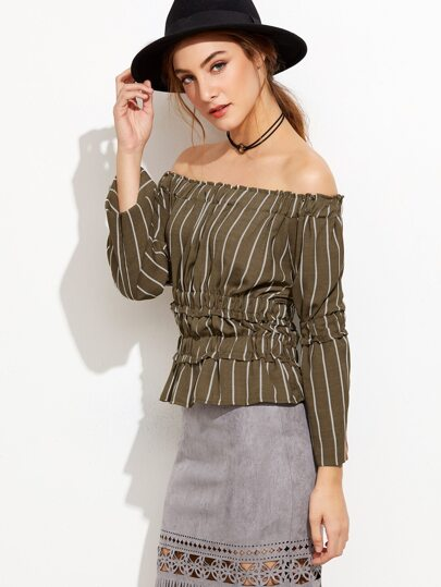 Off The Shoulder Vertical Striped Peplum Top