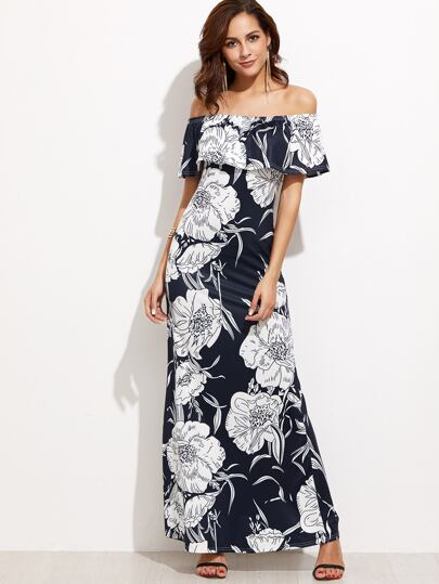 Navy Floral Print Off The Shoulder Foldover Dress