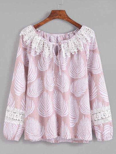 Pink Leaves Print Tie Neck Crochet Trim Top