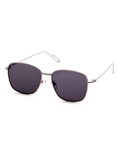 Silver Delicate Frame Black Lens Sunglasses