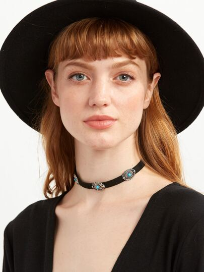 Black Geometric Carved Turquoise Choker Necklace