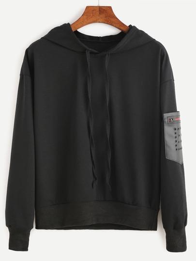 Black Hooded PU Pocket Sweatshirt
