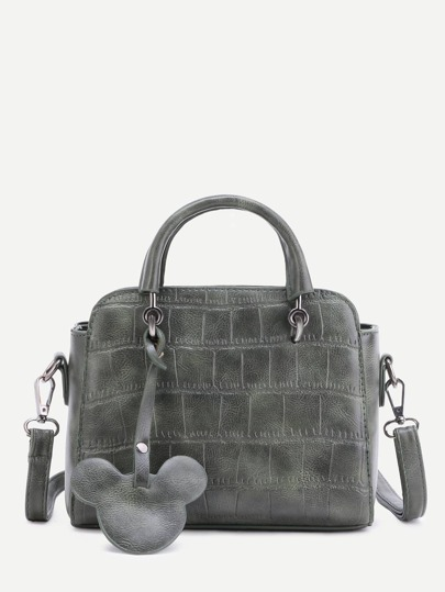 Sage Green Embossed PU Mickey Trim Handbag With Strap