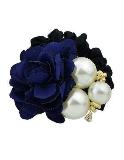 Blue Fower Pearl Elastic Hair Band