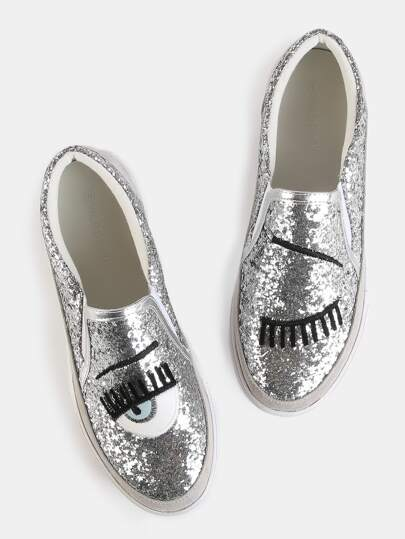Embroidered Glitter Slip On Sneakers SILVER