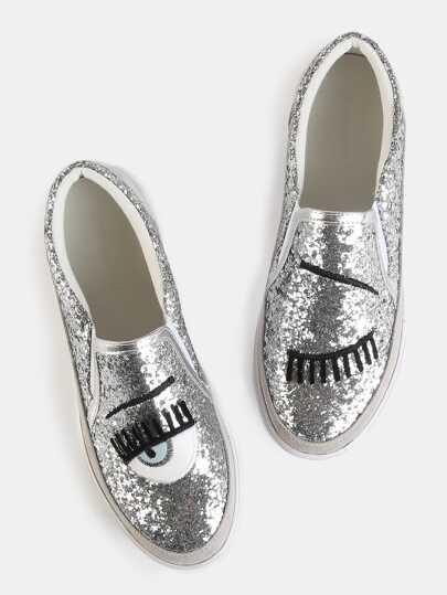Scarpe da ginnastica di luccichio con ricamo - argento
