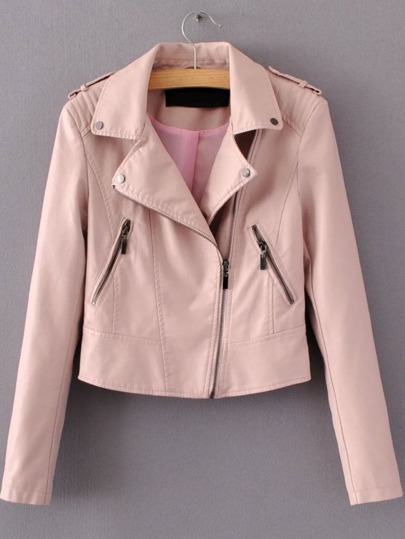 Pink Oblique Zipper Crop PU Jacket