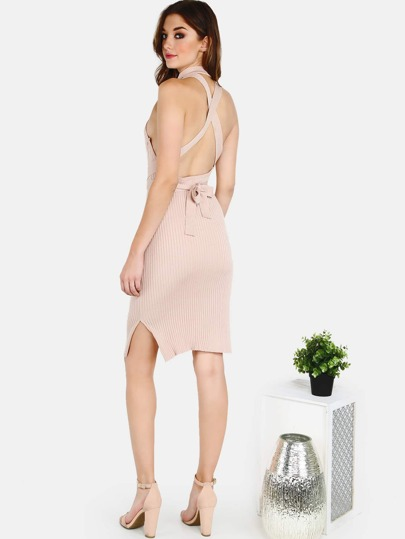 Sleeveless Ribbed Mock Neck Halter Dress TAUPE