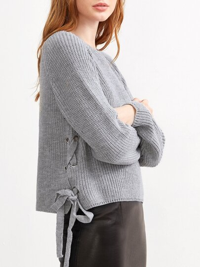 Grey Eyelet Lace Up Side Loose Sweater