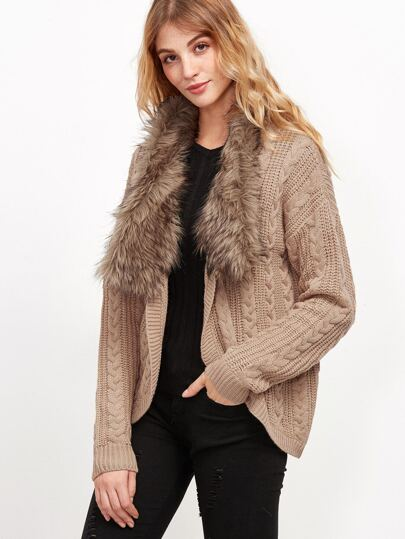 Khaki Cable Knit Faux Fur Collar Cardigan