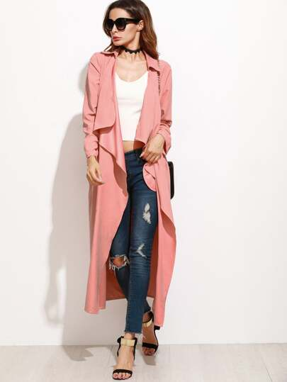 Pink Waterfall Collar Duster Coat
