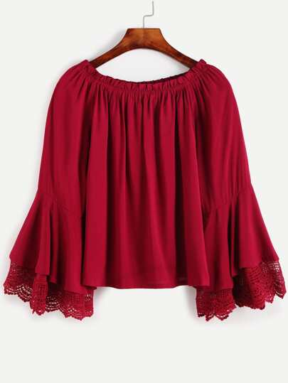 Burgundy Boat Neck Bell Sleeve Crochet Trim Top