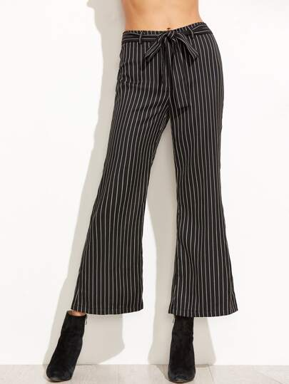 Black Pinstripe Self Belt Flare Pants