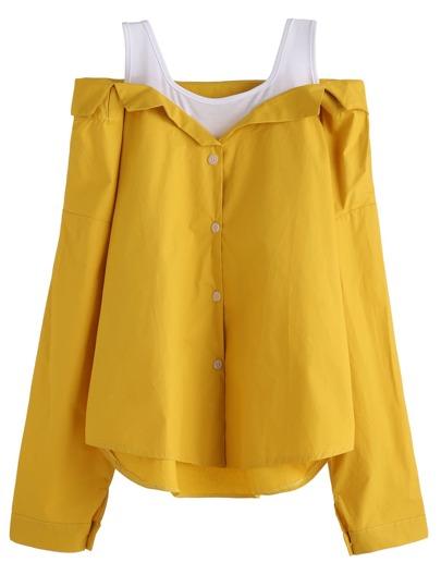 Yellow Contrast Open Shoulder Dip Hem Combo Top
