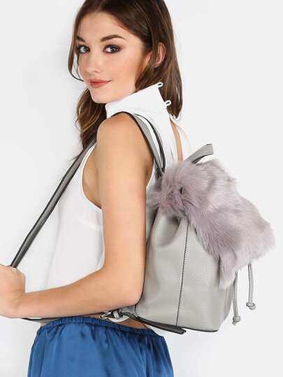 Fluffy Faux Fur Drawstring Backpack GREY