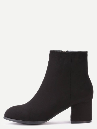 Black Suede Side Zipper Chunky Heel Short Boots