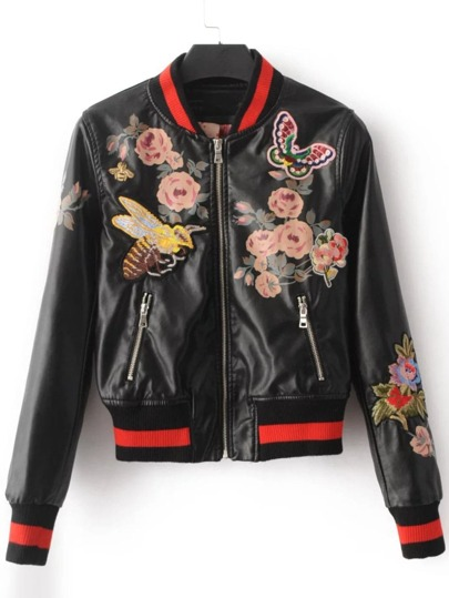 Black Flower Embroidery PU Jacket With Zipper