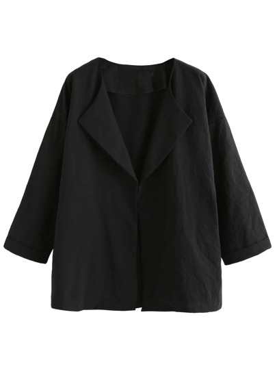 Black Drop Shoulder Cuffed Coat
