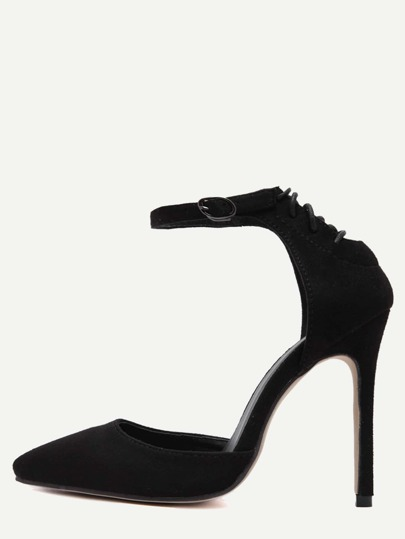 Black Faux Suede Point Toe Ankle Strap Pumps