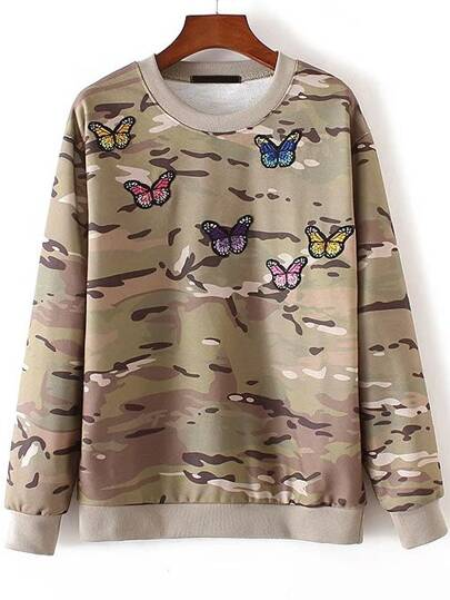 Butterfly Embroidery Ribbed Trim Camouflage Sweatshirt