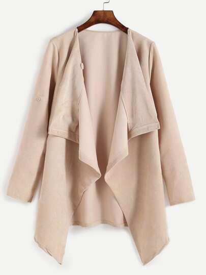 Drape Front Hanky Hem Coat