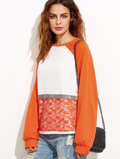 Color Block Lace Overlay Raglan Sleeve Sweatshirt