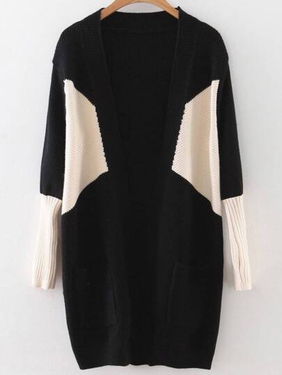 Black Color Block Ribbed Trim Cardigan With Pockets