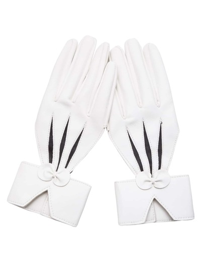 White Faux Leather Cut Out Bow Gloves