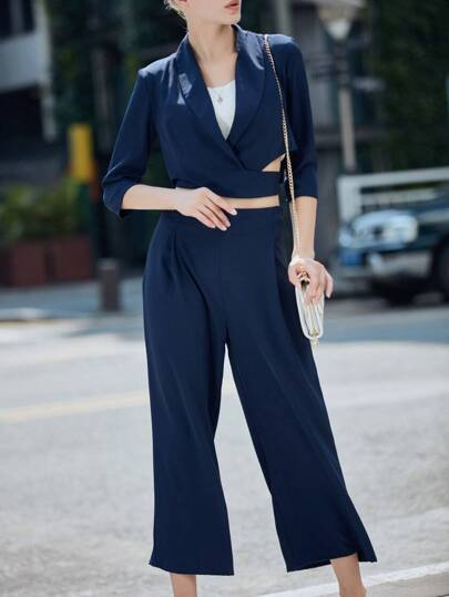 Navy Lapel Short Blazer Top With Pants