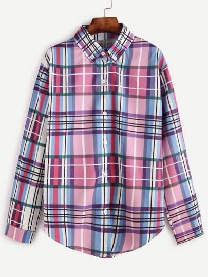 Multicolor Plaid Curved Hem Blouse With Buttons