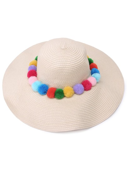 Beige Vacation Pom-pom Large Brimmed Straw Hat