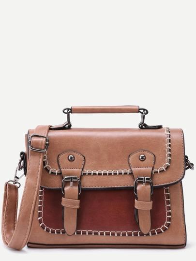 Khaki Faux Leather Satchel Bag